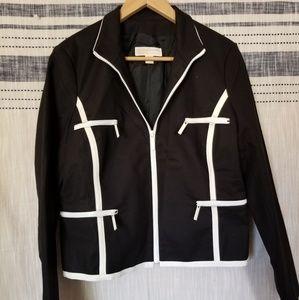 Michael Kors Black Blazer Jacket Zip Trim